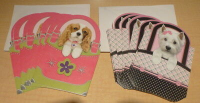 New (2PKS)  Voila 16 Blank Note Cards & Envelopes Puppy Dog in Purse