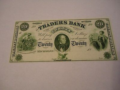 1800's $20 note from Traders Bank of Richmond Virginia. a remainder by ABNC.