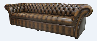 Chesterfield Balmoral 4 Seater Buttoned Seat Sofa Settee Antique Tan Leather