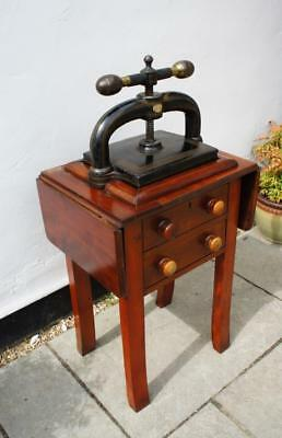 "Early Victorian 12"" book press, copying press on original table with drawers"