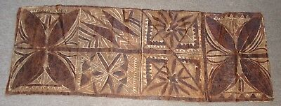 vintage Samoan tapa cloth (Siapo) with traditional stylized floral patterns