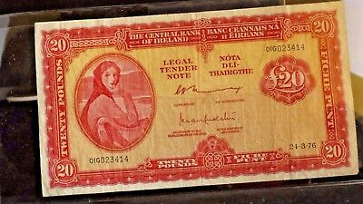 "IRELAND £20 TWENTY POUNDS (PUNT) ""Lady Lavery"" NOTE ~ LAST EVER ISSUE YEAR 1976"