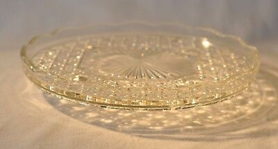 Vintage Pressed Glass Cake Stand / Plate 21.5cm