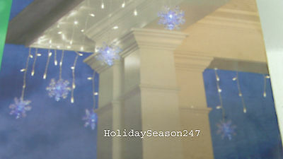 70 White LED icicle Dome Light W Blue Color 3D Snowflake Christmas Holiday Decor