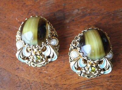 Vintage Gold Tone Tiger Eye Faux Pearl Clip On Earrings W Germany