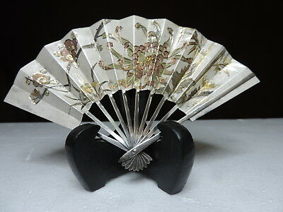 Exquisite H-Chased Signed Japanese Sterling Silver Fan 52 Grams Takehiko Japan