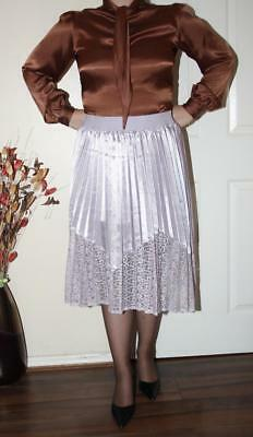 SEXY LILAC LIQUID SATIN & LACE LONG PLEATED SWISHY GOVERNESS SKIRT size 18 20