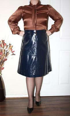 SEXY NAVY BLUE GLOSS PVC PATENT LEATHER LOOK VINYL CLASSIC GOVERNESS SKIRT Sz 20