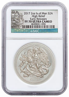 2017 Isle of Man 2 oz High Relief Silver Angel Piedfort NGC PF70 UC ER SKU51546