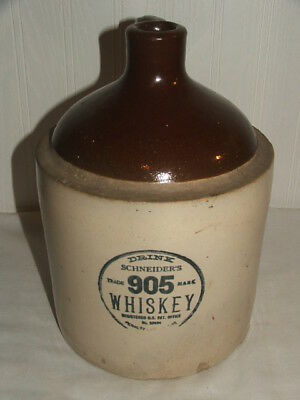 RED WING STONEWARE Advertising JUG Drink SCHNEIDER'S 905 WHISKEY Handled Jug
