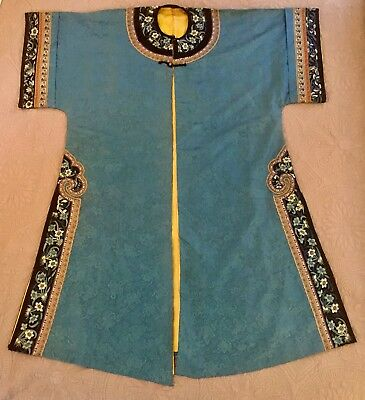 Antique Chinese Embroidered Manchu Qing Silk Robe 19th C Buddhist Endless Knot