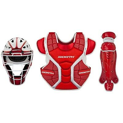 Worth Legit LCS12 Adult Fastpitch softball Catcher set equipment baseball red
