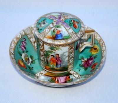 ANTIQUE 19thC AR MEISSEN MARK DRESDEN HELENA WOLFSOHN PORCELAIN CUP AND SAUCER