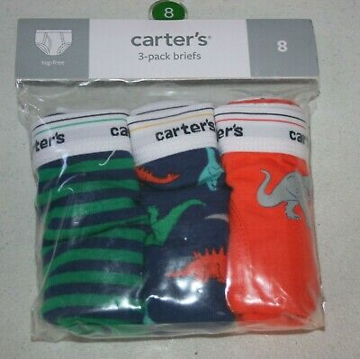 New Carter's 3 Pairs Underwear Boy Briefs NWT 2T 3T 4T 5T 6 7 8 Year Dinosaurs
