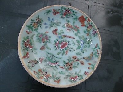 Antique Mid-19th Century Chinese Celadon Canton Famille Rose Porcelain Plate