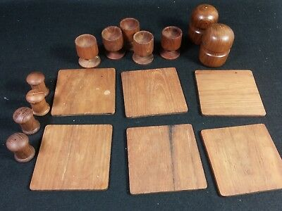 Large Lot of Teak Wooden Kitchen Ware Lot Salt and Pepper Shakers