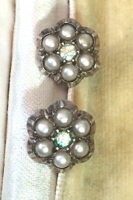 Antique Silver Earrings Seed Pearls and Zircon Stud Earrings