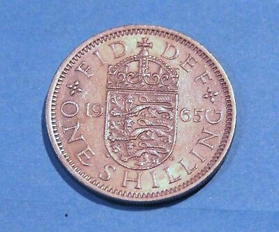 1965 UK Shilling English reverse average circulated condition highly collectble