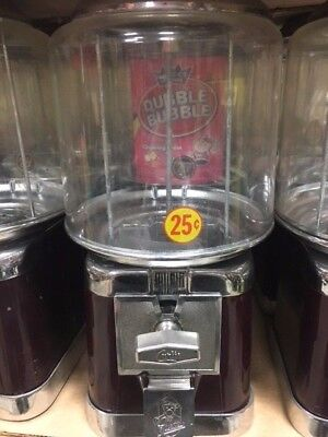 Beaver Burgundy & Chrome Gumball Candy Nut Bulk Vending Machine with lock & key