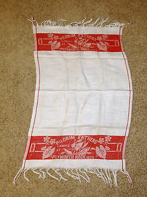 Antique Pilgrim Fathers Plymouth Rock Mayflower Turkey Red Embroidered Towel