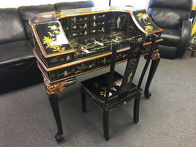 Vintage Japanese Geisha Inlay Asian Oriental Drawer Full Body Desk & Chair