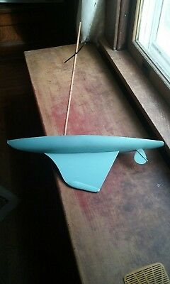 Vintage Pond Boat Wood Model Wooden Sailboat Ship Metal Keel Antique Yacht Toy
