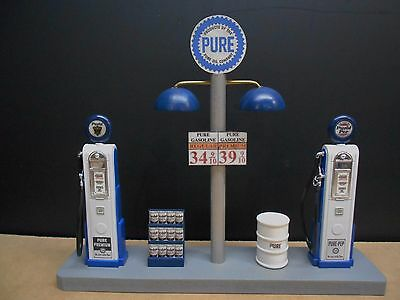 """"""" Pure """" Gas Pump Island W/ Gas Price Sign, 1:18Th Scale, Hand Crafted, New"""