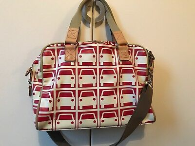 Orla Kiely Laptop Bag Red Large Car Business Work Travel Excellent Condition