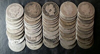 Lot of 50 10c Barber Silver Dimes