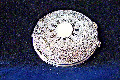 c. 19th Century Handcrafted Persian Sterling Silver Filigree & Niello Compact
