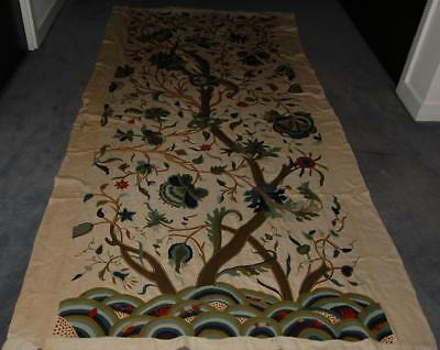 """Antique Hand Embroidered Curtain Tree of Life Jacobean Style 108""""x 50"""" c1900-20"""