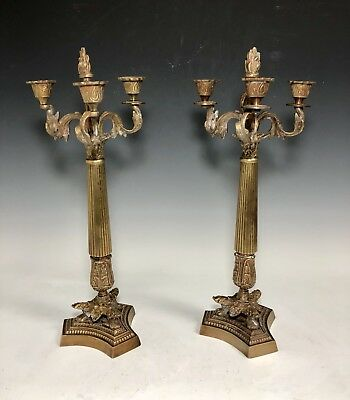 French Decorative Pair Antique Brass 3 Arms Candlestick Candle Holder Candelabra