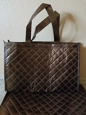 3 Joy Mangano quilted tote bag bronze brown new shopping reuseable metallic gift