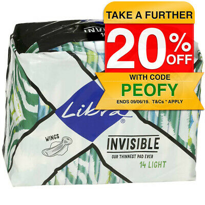 Libra 14pk Light Invisible Absorbent Thin Pads w/ Wings Hygiene Protection