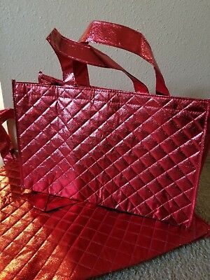 3 Joy Mangano quilted tote bag red new shopping reuseable metallic gift Xmas
