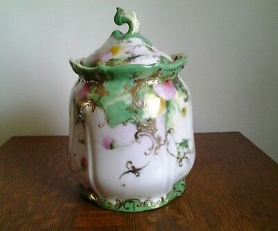 Vintage Cracker/Biscuit Jar With Floral And Gold Pattern/Price Reduced