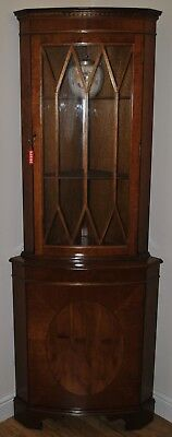 Yew Corner Display Cabinet Vintage Glass Fronted