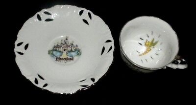 Rare Disneyland Plate By Eleanore Wellborn Art Productions & Tinkerbell Tea Cup