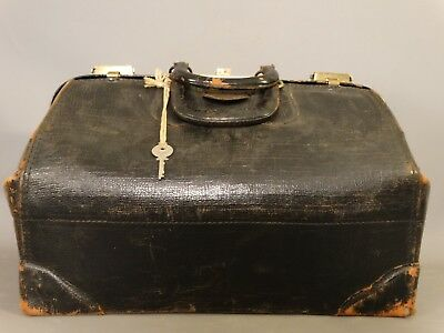Ca.1910 Antique EDWARDIAN Era LEATHER DOCTOR BAG Old STATLER BAG Medical SATCHEL