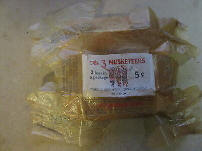 vintage 3 musketeers 5 cent candy bar wrapper 1930s original old antique
