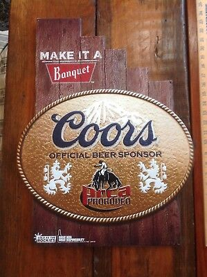 tin coors beer sign pro rodeo sponsor