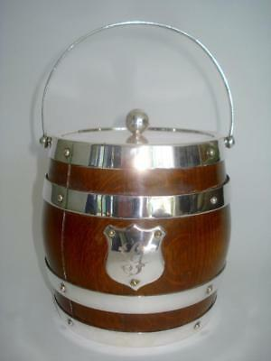 Fine Antique English Edwardian Oak & Silver Plate Biscuit Barrel 1890 Signed
