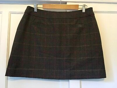 NWT Joules 'Fearne' Tweed Skirt Olive Green Check Size 14