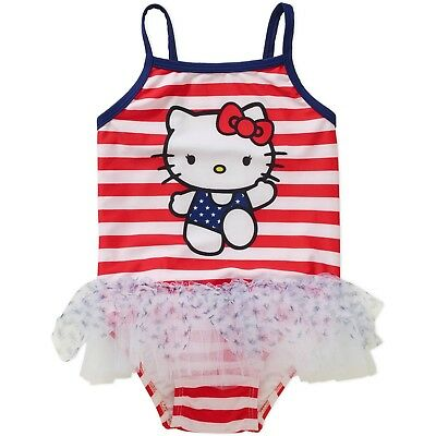 HELLO KITTY Girl's Graphic Tutu One Piece Swimsuit Red/White/Blue 3-6 Months