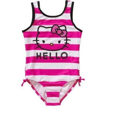 HELLO KITTY Girl's Graphic Striped One Piece Swimsuit Pink/White Large 10-12