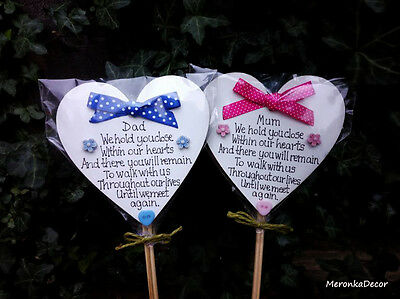 Memorial heart-Mum Dad Grave Ornament- Personalised Plaque Pink-Blue-Fathers Day
