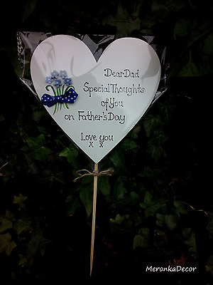 Memorial heart-Fathers Day/Special Dad Grave Ornament-Personalised- any text15cm