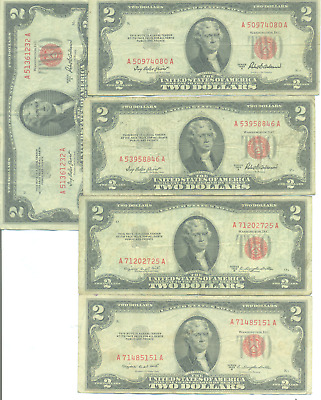 Five $2 Red Seal U.s. Notes