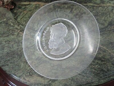 """OLD MASTERS COLLECTION GLASS PLATE """"MICHELANGELO"""" by VAL ST LAMBERT BELGIUM [*4]"""
