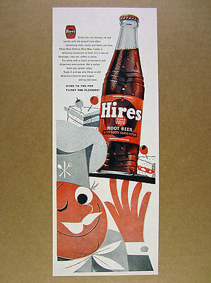 1954 Hires Root Beer bottle illustration color art vintage print Ad